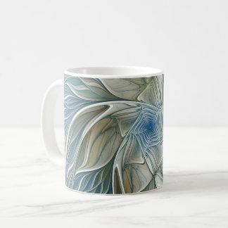 Caneca De Café Fractal Khaki azul do abstrato ideal floral do