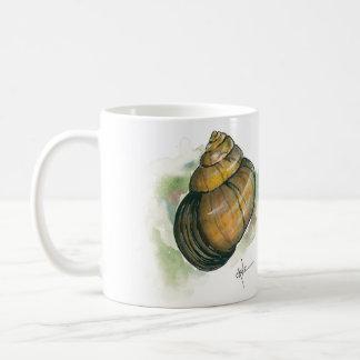 Caneca De Café Frente interno do caracol e aguarela traseira