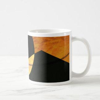 Caneca De Café Fulgor dos planetas, preto e cobre, design gráfico