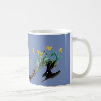 Caneca De Café Funcione a arte animal floral funcionada coelho