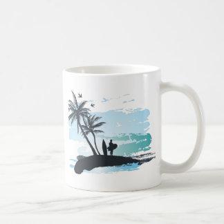 Caneca De Café Fundo do surfista do verão da palma