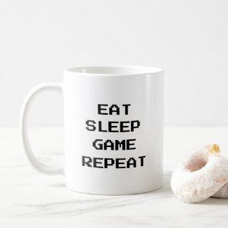 Caneca De Café Gamer: Coma, durma, o jogo, repetição com texto do