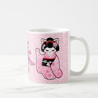 Caneca De Café Gato afortunado japonês Maiko de Kokeshi Maneki