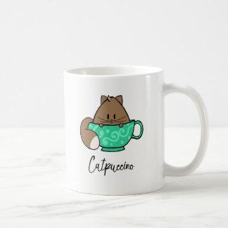 Caneca De Café Gato bonito dos desenhos animados de Catpuccino em