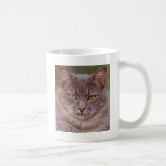 Caneca De Café Gato cinzento bonito do gato gordo com olhos