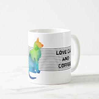 Caneca De Café Gato colorido da aguarela com texto