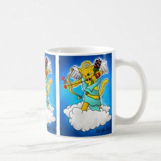Caneca De Café Gato do Cupido do amarelo do gengibre do dia dos
