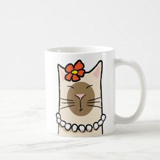 Caneca De Café Gato Siamese com flor & pérolas