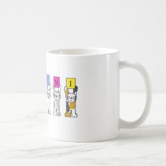 Caneca De Café Gatos dos desenhos animados do aniversário dos