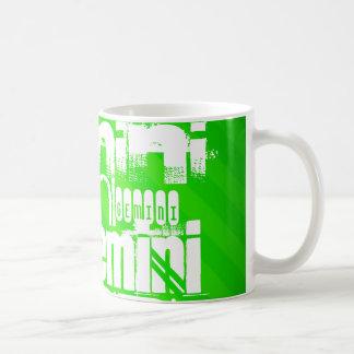 Caneca De Café Gêmeos; Listras verdes de néon
