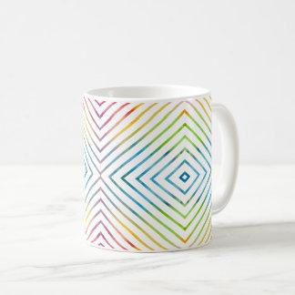 Caneca De Café Geométrico listrado da aguarela colorida