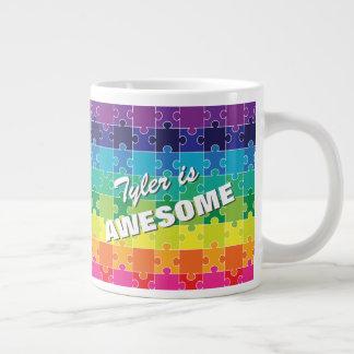 Caneca De Café Gigante Consciência colorida personalizada do autismo