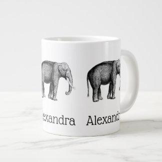 Caneca De Café Gigante Desenho do elefante do vintage