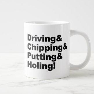 Caneca De Café Gigante Driving&Chipping&Putting&Holing (preto)