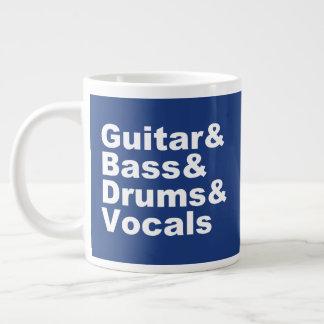 Caneca De Café Gigante Guitar&Bass&Drums&Vocals (branco)