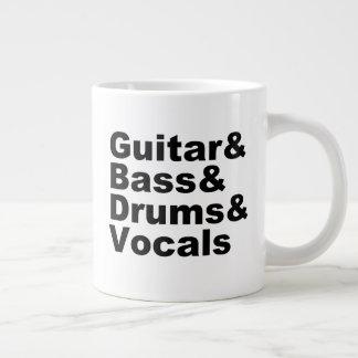 Caneca De Café Gigante Guitar&Bass&Drums&Vocals (preto)