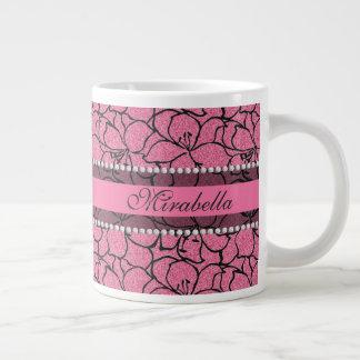 Caneca De Café Gigante Lírios cor-de-rosa luxúrias com esboço preto,