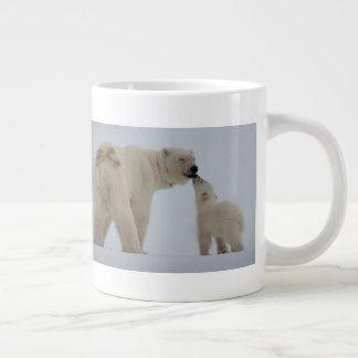 Caneca De Café Gigante Mãe do urso polar com Cub