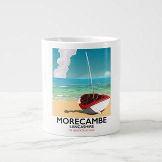 Caneca De Café Gigante Morecambe, poster de viagens do beira-mar de