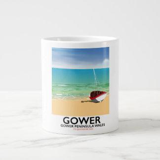 Caneca De Café Gigante Poster da praia de Wales da península de Gower