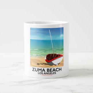Caneca De Café Gigante Poster da praia do trilho do LA da praia de Zuma