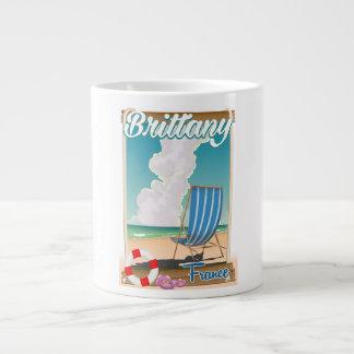 Caneca De Café Gigante Poster de viagens da praia de Brittany France