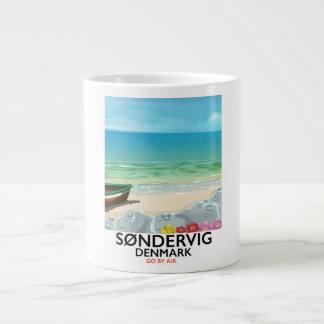 Caneca De Café Gigante Poster de viagens da praia de Søndervig Dinamarca
