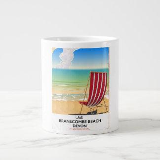 Caneca De Café Gigante Poster do beira-mar do vintage de Devon da praia