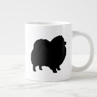Caneca De Café Gigante Silhuetas pretas de Pomeranian