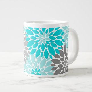 Caneca De Café Gigante Teste padrão floral dos crisântemos de turquesa e