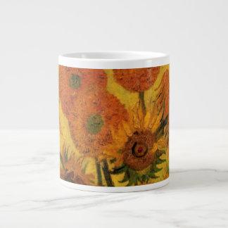 Caneca De Café Gigante Vaso de Van Gogh com girassóis, flores das belas