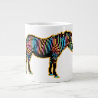 Caneca De Café Gigante Zebra colorida do arco-íris