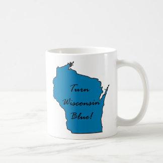 Caneca De Café Gire Wisconsin azul! Orgulho Democrática!