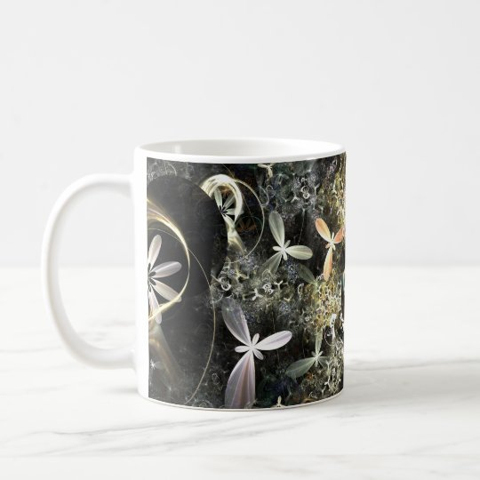 Caneca De Café Gold and Silver Flowers Fractal