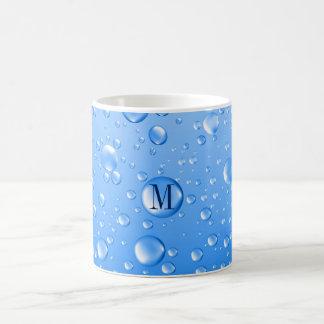 Caneca De Café Gotas metálicas Monogrammed da chuva dos azul-céu