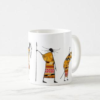 Caneca De Café Gráfico africano, caçadores tribais