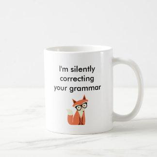 Caneca De Café Gramática do Fox do hipster