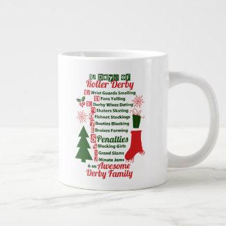 Caneca De Café Grande 12 dias do Natal de Derby do rolo, patinagem de