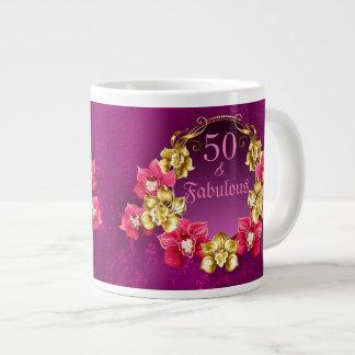Caneca De Café Grande 50 e ouro fabuloso e orquídeas cor-de-rosa