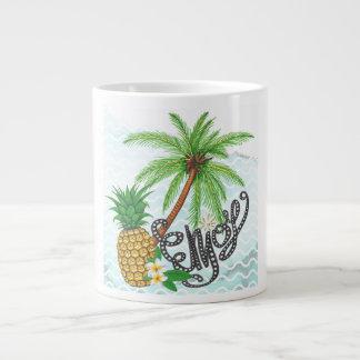 Caneca De Café Grande A ilustração pintado mão do abacaxi da palma