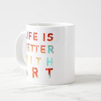 Caneca De Café Grande A vida é melhor com arte