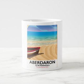 Caneca De Café Grande Aberdaron, poster do beira-mar de Wales da