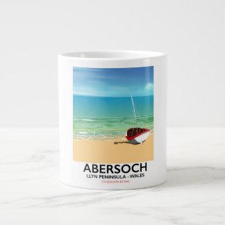 Caneca De Café Grande Abersoch, poster do feriado de Wales da península
