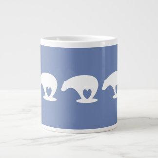 Caneca De Café Grande Amor do urso polar, no azul do wedgewood