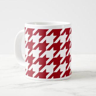 Caneca De Café Grande Arando e grande teste padrão branco de Houndstooth