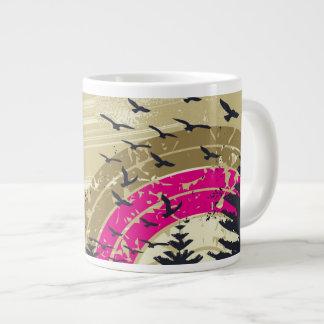 Caneca De Café Grande Arco-íris cor-de-rosa