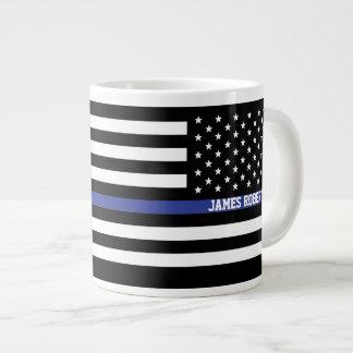 Caneca De Café Grande Blue Line fino - costume personalizado da bandeira