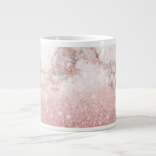 Caneca De Café Grande Brilho cor-de-rosa Ombre de mármore branco do ouro