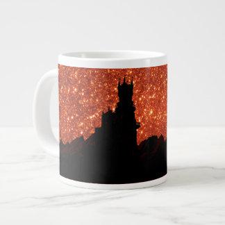 Caneca De Café Grande Brilho do nascer do sol, dragão, castelo escuro da