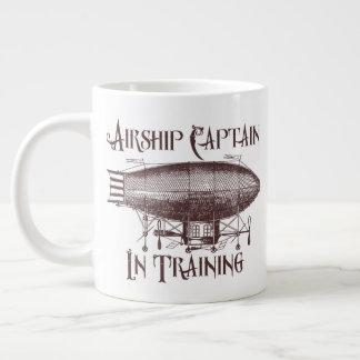 Caneca De Café Grande Capitão do dirigível no treinamento, Steampunk